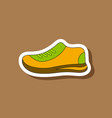 paper sticker on stylish background sports shoes vector image