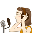 Pretty girl in headphones singing vector image