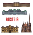 Historic buildings and architecture of Austria vector image