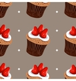 Seamless Pattern Strawberry Cupcakes vector image