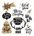 Merry Christmas lettering set Hand lettered vector image