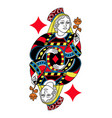 queen of diamonds isolated french version vector image vector image