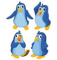 Four blue penguins vector image vector image