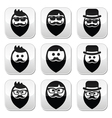 Man with beard with moustache or mustache hipster vector image