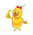 Cute baby duck cartoon thumb up vector image