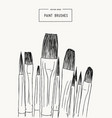 set of water color brushes artist tools sketch vector image