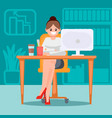 woman in the office at the table vector image