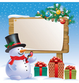 Snowman wooden sign vector image vector image