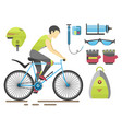flat bicycle equipment icon rider vector image