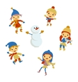 Winter Little girl snowman Christmas boy snow vector image