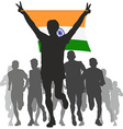 Winner with the India flag at the finish vector image vector image