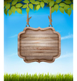 Natural background with leaves and a wooden sign vector image