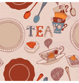 Card with tea and cakes vector image vector image