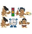 Set owl teacher vector image