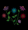 embroidery stitches with flowers and leaves vector image