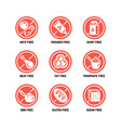 food dietary symbols gmo free no gluten vector image