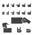 Hand gesture icon set black vector image