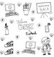 Tools school in doodle flat vector image