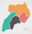 uganda map with states and modern round shapes vector image
