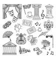 doodle set of theatre symbols lira vector image