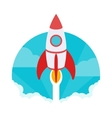 Startup The rocket takes off against vector image