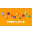Super Sale Banner with Gift Boxes Big Discounts vector image
