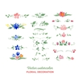 watercolor floral elements Flowers leaves vector image