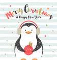 Christmas design with penguin vector image