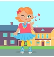 Young Girl Sent Air Kiss vector image