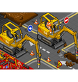 Isometric Mini Chisel Excavator in Front View vector image vector image