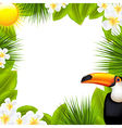 Green Frame With Tropical Elements vector image