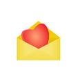 heart in opened envelope vector image