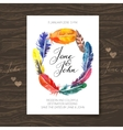 Wedding invitation card with watercolor feathers vector image vector image