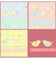 set seamless patterns with cartoon birds vector image