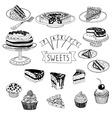 hand drawn set with cakes and sweets vector image