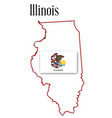 illinois state map and flag vector image