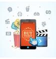 Online Ticket Cinema with Mobile App vector image