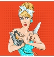 Pin-up woman portrait with knife and iron vector image