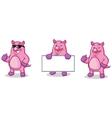 Purple Pig Mascot happy vector image