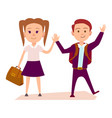 schoolboy and schoolgirl hold hands vector image