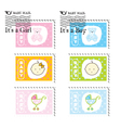 Cute baby stamps vector image
