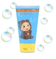 Baby lather tube with kids design vector image