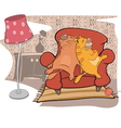 Cats friends sleep on a sofa vector image vector image