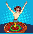 woman behind roulette table celebrating big win vector image