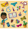 African-American trendy girl and female things vector image