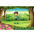 A jungle with a smiling little boy vector image vector image