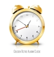 Golden alarm clock isolated on white background vector image vector image