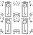 grandfather clock and alarm clock black and white vector image
