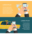 Taxi service Smartphone and touchscreen city vector image