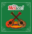 viva mexico - guitars and hat party vector image